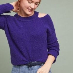 Anthropologie Purple Cold shoulder sweater - S